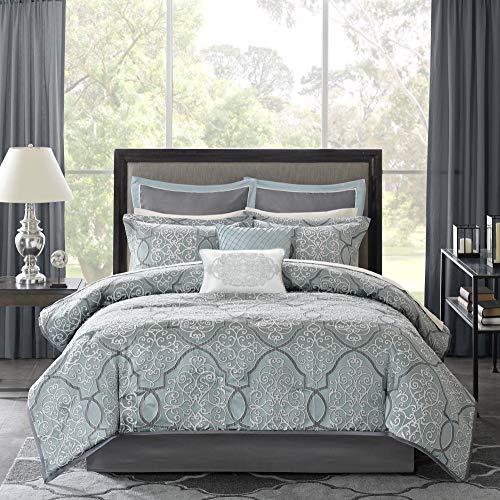 Madison Park LaVine 12 Piece Jacquard Comforter Set Blue King 0 0