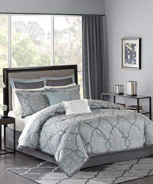 Madison Park LaVine 12 Piece Jacquard Comforter Set Blue King 0 300x360