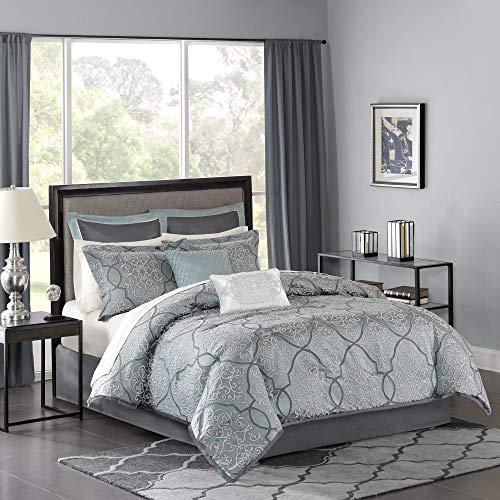 Madison Park LaVine 12 Piece Jacquard Comforter Set Blue King 0