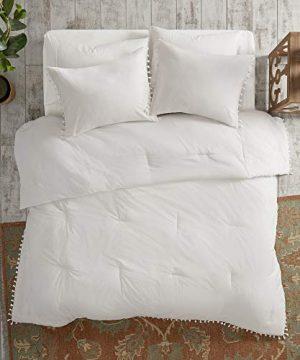 Madison Park Lillian 100 Cotton Comforter Bohemian Fringe Tassel Trim Border Shabby Chic All Season Bed Set With Matching Sham FullQueen90x90 Ivory 3 Piece 0 1 300x360