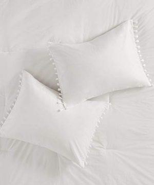 Madison Park Lillian 100 Cotton Comforter Bohemian Fringe Tassel Trim Border Shabby Chic All Season Bed Set With Matching Sham FullQueen90x90 Ivory 3 Piece 0 2 300x360
