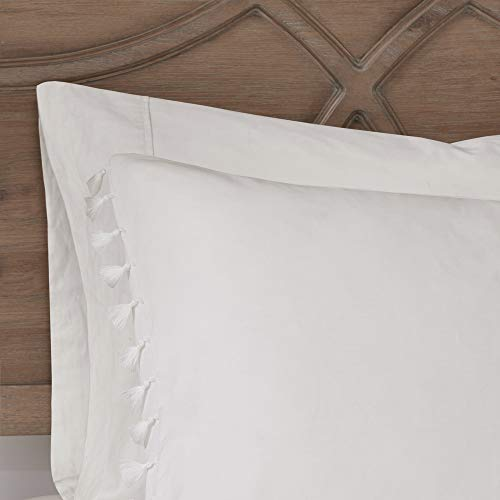 Madison Park Lillian 100 Cotton Comforter Bohemian Fringe Tassel Trim Border Shabby Chic All Season Bed Set With Matching Sham FullQueen90x90 Ivory 3 Piece 0 5