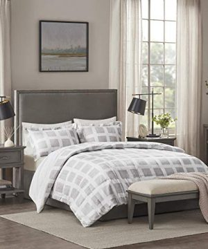 Madison Park Mae Soft Plush Comforter Geometric Pattern Modern All Season Down Alternative Bedding Set With Matching Sham FullQueen Grey 3 Piece 0 300x360