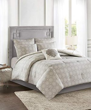 Madison Park Malia 6 PC Comforter Set 100 Cotton Percale Bohemian Design Tufted Embroidery Reversible To Medallion Embroidered Pillow And Matching Shams All Season Bedding FullQueen GreyIvory 0 0 300x360
