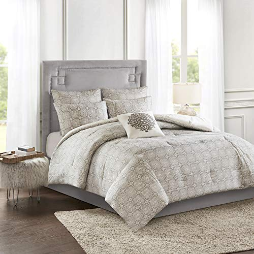 Madison Park Malia 6 PC Comforter Set 100 Cotton Percale Bohemian Design Tufted Embroidery Reversible To Medallion Embroidered Pillow And Matching Shams All Season Bedding FullQueen GreyIvory 0 0