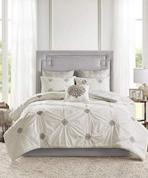 Madison Park Malia 6 PC Comforter Set 100 Cotton Percale Bohemian Design Tufted Embroidery Reversible To Medallion Embroidered Pillow And Matching Shams All Season Bedding FullQueen GreyIvory 0 1 300x360
