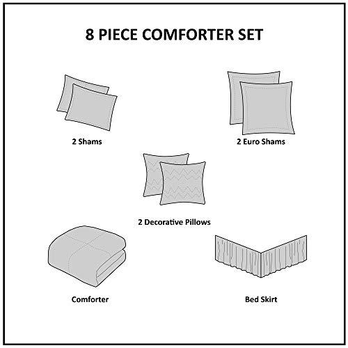 Madison Park Odette 8 Piece Jacquard Bedding Comforter Set With Damask Stria Queen Silver 0 3