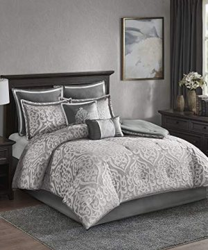 Madison Park Odette 8 Piece Jacquard Bedding Comforter Set With Damask Stria Queen Silver 0 300x360