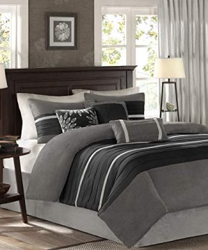 Madison Park Palmer 7 Piece Comforter Set Black And Gray King Pieced Microsuede Includes 1 Comforter 3 Decorative Pillows 1 Bed Skirt 2 Shams 0 0 300x360