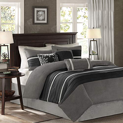Madison Park Palmer 7 Piece Comforter Set Black And Gray King Pieced Microsuede Includes 1 Comforter 3 Decorative Pillows 1 Bed Skirt 2 Shams 0 0