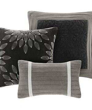 Madison Park Palmer 7 Piece Comforter Set Black And Gray King Pieced Microsuede Includes 1 Comforter 3 Decorative Pillows 1 Bed Skirt 2 Shams 0 1 300x360