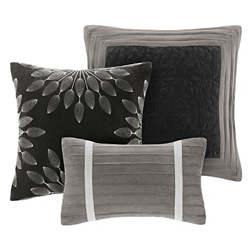 Madison Park Palmer 7 Piece Comforter Set Black And Gray King Pieced Microsuede Includes 1 Comforter 3 Decorative Pillows 1 Bed Skirt 2 Shams 0 1