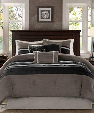 Madison Park Palmer 7 Piece Comforter Set Black And Gray King Pieced Microsuede Includes 1 Comforter 3 Decorative Pillows 1 Bed Skirt 2 Shams 0 300x360