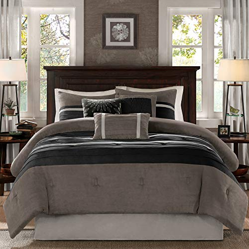 Madison Park Palmer 7 Piece Comforter Set Black And Gray King Pieced Microsuede Includes 1 Comforter 3 Decorative Pillows 1 Bed Skirt 2 Shams 0