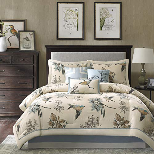 Madison Park Quincy King Size Bed Comforter Set Bed In A Bag Khaki Jacquard 7 Pieces Bedding Sets Ultra Soft Microfiber Bedroom Comforters 0 0