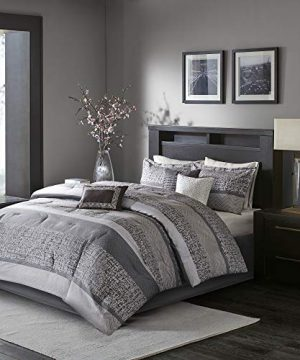 Madison Park Rhapsody King Size Bed Comforter Set Bed In A Bag Grey Striped 7 Pieces Bedding Sets Ultra Soft Microfiber Bedroom Comforters 0 1 300x360