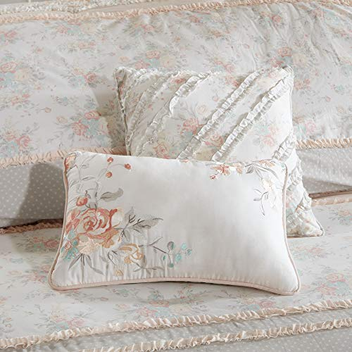 Madison Park Serendipity Cal King Size Bed Comforter Set Bed In A Bag Coral Floral 9 Pieces Bedding Sets 100 Cotton Bedroom Comforters 0 3