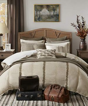 Madison Park Signature Chateau Queen Size Bed Comforter Duvet 2 In 1 Set Bed In A Bag Taupe Soutache Cord Embroidery 8 Piece Bedding Sets Faux Linen Bedroom Comforters 0 300x360