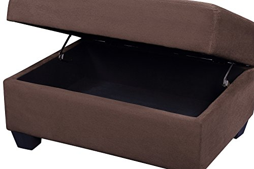 Merax Sectional Sofa With Chaise Lounge And Ottoman 3 Seat Sofas Couch Set For Living Room Brown 0 0