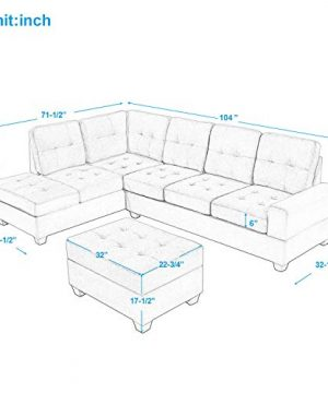 Merax Sectional Sofa With Chaise Lounge And Ottoman 3 Seat Sofas Couch Set For Living Room Brown 0 1 300x360