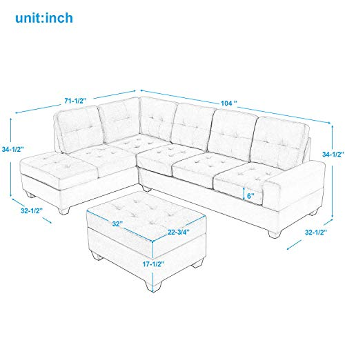 Merax Sectional Sofa With Chaise Lounge And Ottoman 3 Seat Sofas Couch Set For Living Room Brown 0 1