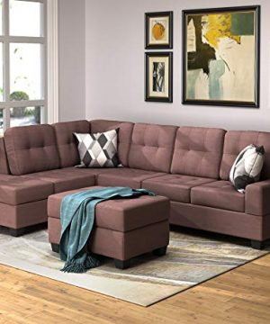 Merax Sectional Sofa With Chaise Lounge And Ottoman 3 Seat Sofas Couch Set For Living Room Brown 0 300x360