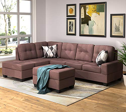 Merax Sectional Sofa With Chaise Lounge And Ottoman 3 Seat Sofas Couch Set For Living Room Brown 0