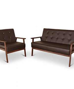 Mid Century 1 Loveseat Sofa And 1 Accent Chairs Set Modern Wood Arm Couch And Chair Living Room Furniture Sets 0 300x360
