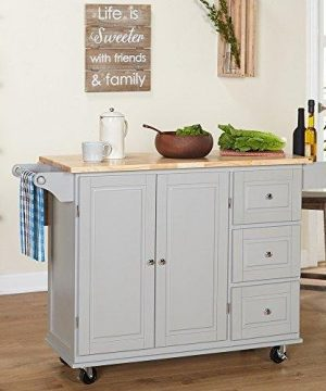 ModHaus Living Modern Transitional Wood Natural Top Kitchen Cart With 3 Drawers 2 Door Cabinet Towel Holder And Spice Rack Includes Pen Gray 0 300x360