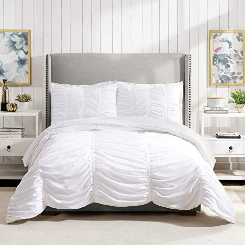 Modern Heirloom Collection Emily Texture Comforter Set Full Queen White 0 0