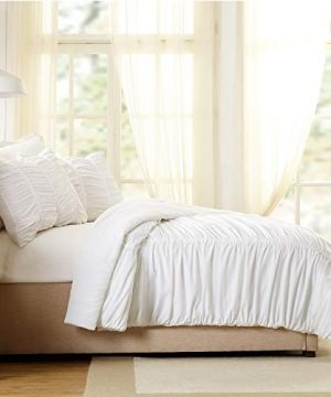 Modern Heirloom Collection Emily Texture Comforter Set Full Queen White 0 1 300x360