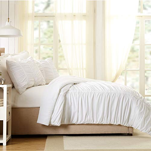 Modern Heirloom Collection Emily Texture Comforter Set Full Queen White 0 1