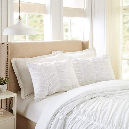 Modern Heirloom Collection Emily Texture Comforter Set Full Queen White 0 2