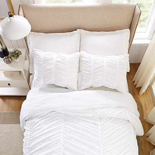 Modern Heirloom Collection Emily Texture Comforter Set Full Queen White 0 3