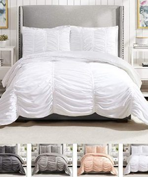 Modern Heirloom Collection Emily Texture Comforter Set Full Queen White 0 300x360