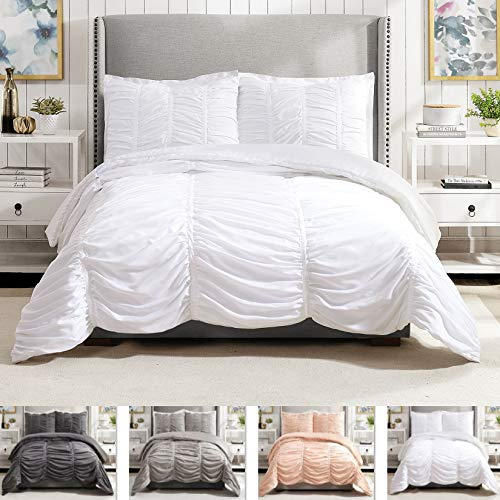 Modern Heirloom Collection Emily Texture Comforter Set Full Queen White 0