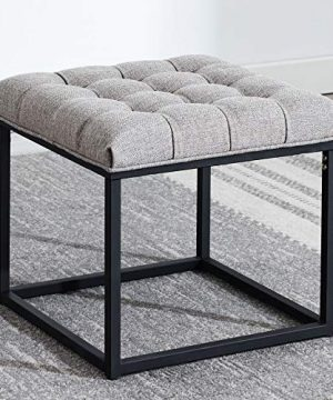 Modern Square Ottoman Footrest Stool Luxurious Button Tufted Covered Seat WSturdy Black Metal Base Easy Assembly Accent Furniture Perfect For Use In Any Room Gray 0 300x360