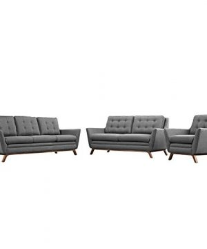 Modway Beguile Mid Century Modern Sofa Upholstered Fabric With Sofa Loveseat And Armchair In Gray 0 300x360