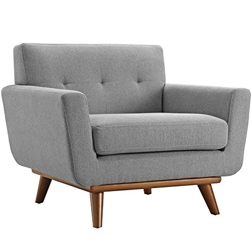Modway Engage Mid Century Modern Upholstered Fabric 5 Piece Sectional Sofa In Gray Seating For Six 0 0