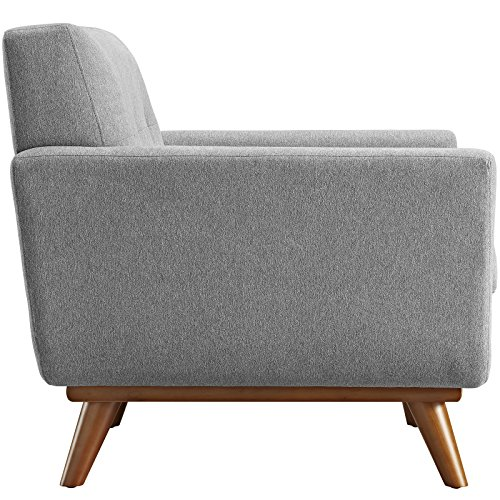 Modway Engage Mid Century Modern Upholstered Fabric 5 Piece Sectional Sofa In Gray Seating For Six 0 1
