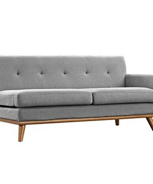 Modway Engage Mid Century Modern Upholstered Fabric 5 Piece Sectional Sofa In Gray Seating For Six 0 2 300x360