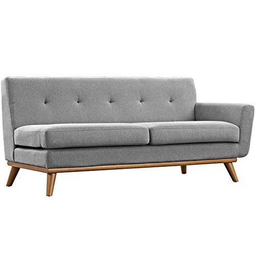 Modway Engage Mid Century Modern Upholstered Fabric 5 Piece Sectional Sofa In Gray Seating For Six 0 2