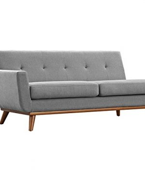 Modway Engage Mid Century Modern Upholstered Fabric 5 Piece Sectional Sofa In Gray Seating For Six 0 3 300x360