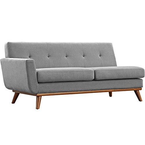 Modway Engage Mid Century Modern Upholstered Fabric 5 Piece Sectional Sofa In Gray Seating For Six 0 3