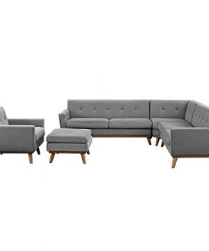 Modway Engage Mid Century Modern Upholstered Fabric 5 Piece Sectional Sofa In Gray Seating For Six 0 300x360