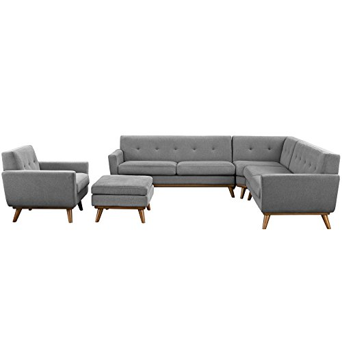 Modway Engage Mid Century Modern Upholstered Fabric 5 Piece Sectional Sofa In Gray Seating For Six 0
