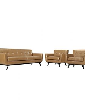 Modway Engage Mid Century Modern Upholstered Sofa And Two Armchair Living Room Set Tan Leather 0 300x360