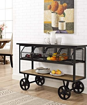 Modway Fairground Rustic Farmhouse And Steel Rolling Cart Kitchen Serving Stand In Brown 0 300x360