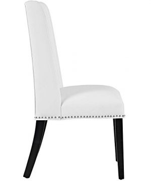 Modway MO Baron Modern Tall Back Wood Faux Leather Upholstered Dining Chair White 0 0 300x360