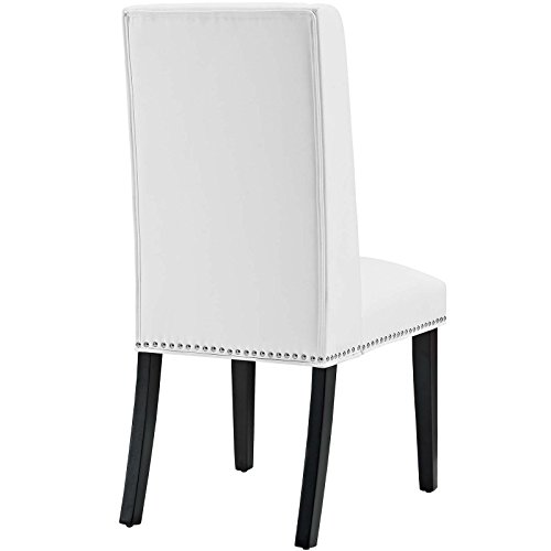 Modway MO Baron Modern Tall Back Wood Faux Leather Upholstered Dining Chair White 0 1